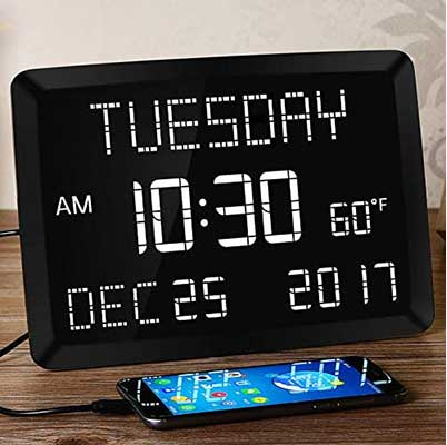 Large Alarm Clock for Bedroom, Calendar Day Clock