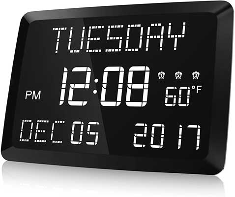 Digital Clock, Raynic LED Word Display Digital Clock