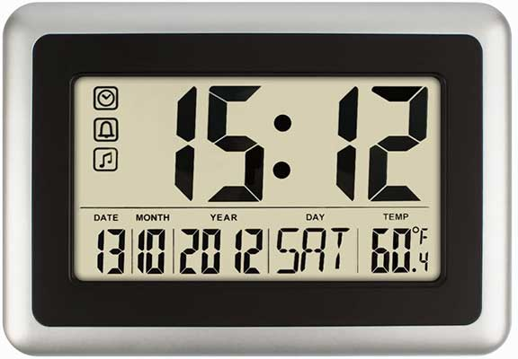 HIPPIH Electronic Alarm Clock – Full Digital Calendar Wall Clocks with Extra-Large Digits