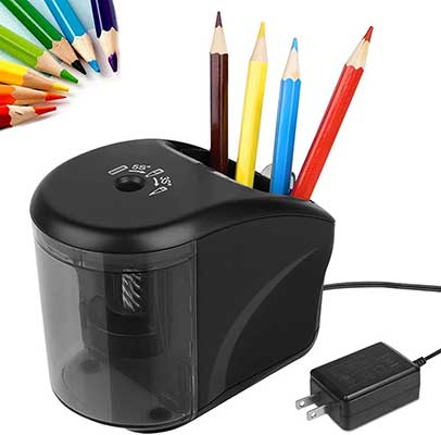 Electric Pencil Sharpener, Power Adapter, and Battery Operated