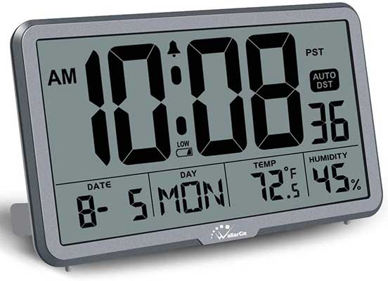 WallarGe Digital Wall Clock, Autoset Desk with Temperature, Humidity, and Date