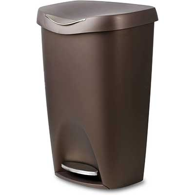 Umbra 084200-125, Bronze Brim Large Kitchen Trash Stainless Steel