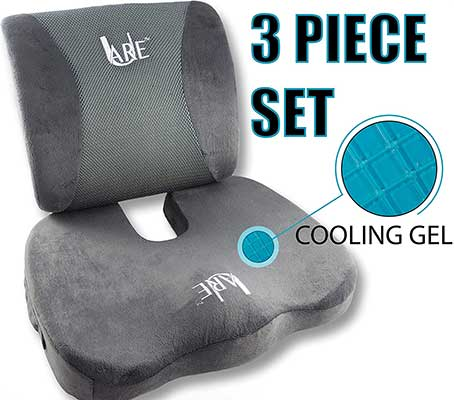 SET: Cool Gel Memory Foam Seat Cushion