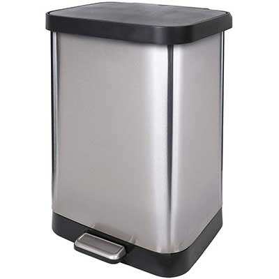 Glad 13 Gallon Stainless Steel Step Trash Can