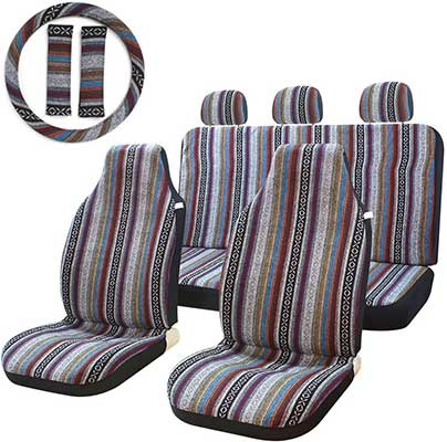 10 Pc Stripe Multi-Color Seat Cover Baja Saddle