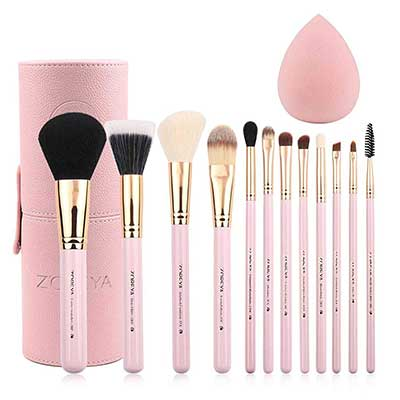 Zoreya 12pcs Pink Synthetic Makeup Brushes for Travel