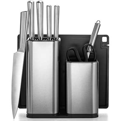 FineDine 10-Piece Stainless Steel Knife Set with Cutting Board