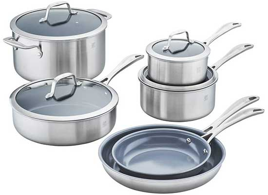 Zwilling J.A Henckels Spirit Ceramic Nonstick Cookware Set, 10-pc