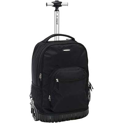 Rockland Single Handle Rolling Backpack, Black