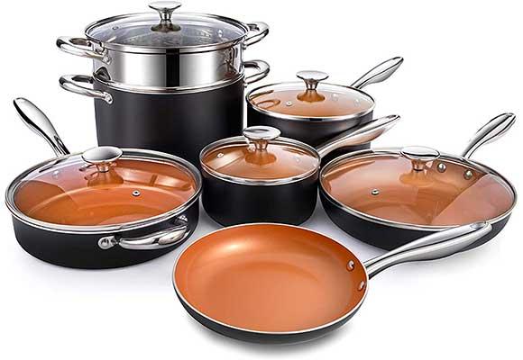 MICHELANGELO Copper Pots & Pans Set Nonstick 12Piece
