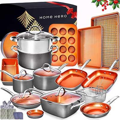 Home Hero Copper Pots and Pans Set Ceramic Cookware Set