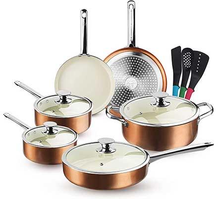 FRUITEAM 13Piece Cookware Set Non-stick Ceramic-Coating Cooking-Set