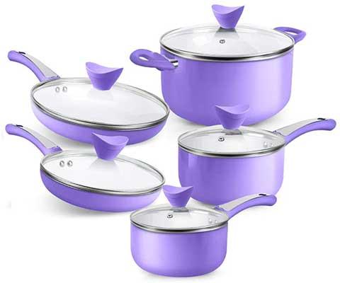 SHINEURI 10 Pieces Nonstick Pots and Pans Set