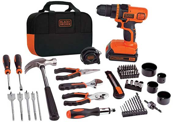 BLACK + DECKER 20V MAX Drill and Home Tool Kit
