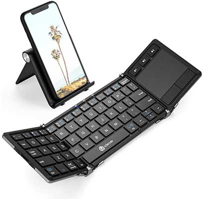 Bluetooth Keyboard, iClever BK08 Folding Keyboard with Sensitive Touchpad