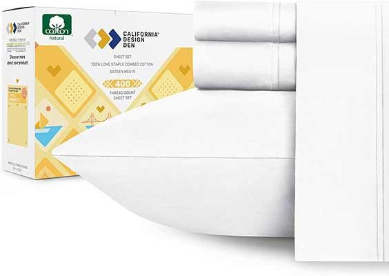 Queen California Design Den Pure White Cotton