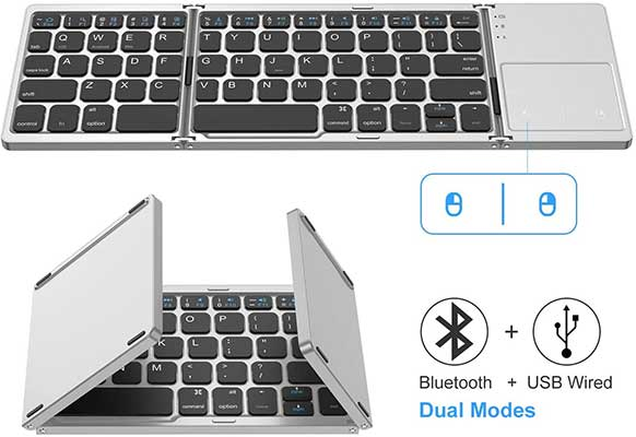 Foldable Bluetooth Keyboard, Jelly Comb Dual Mode Bluetooth & USB