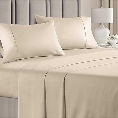 100% Queen Size Sheets Cotton Cream