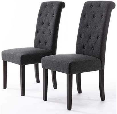 DininL Fur Dining Chair Kitchen Chair Set of 2
