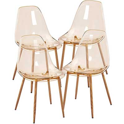 GreenForest Acrylic Ghost Chairs Set of Four