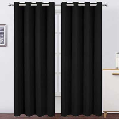 LEMOMO Blackout Curtains 52 x 84 Inch Black Curtains