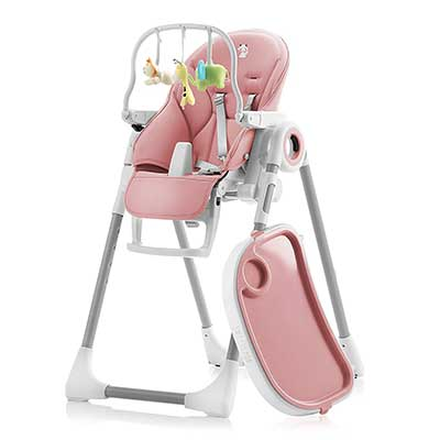 Adjustable Folding, Baby High Chair Pink