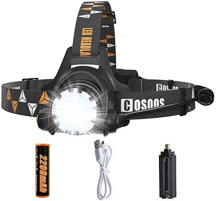 Rechargeable Headlamp Flashlight, COSOOS Bright LED Headlamp