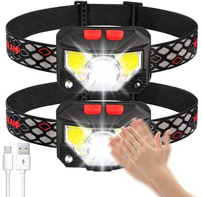 Soft Digits Headlamp Flashlight, 2-Pack LED Headlight