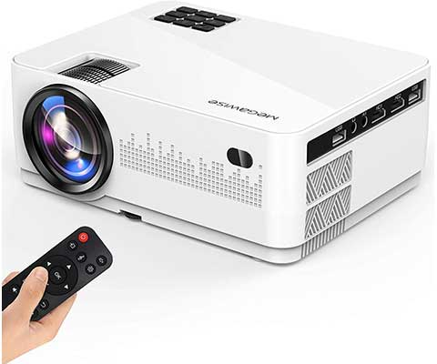 """MegaWise1080P Video Projector, 600 Lux and 200"""" Display"""