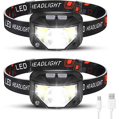 Rechargeable Headlamp 2 Packs, LED Headlamp
