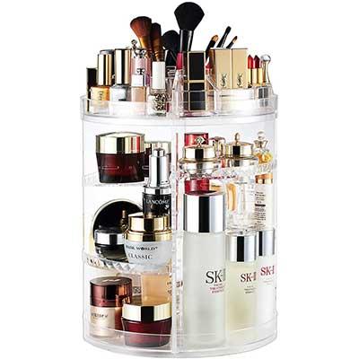 Makeup Organizer, 360 Degree Rotating Adjustable-Cosmetic-Case