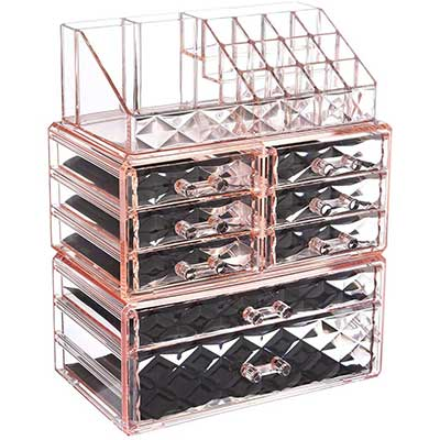 ZHIAI Makeup Organizer Acrylic Cosmetics Storage Drawers