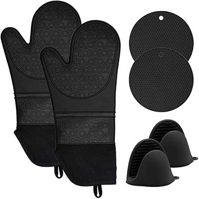 KOHSEN Silicone Oven Mitts &Pot Holders